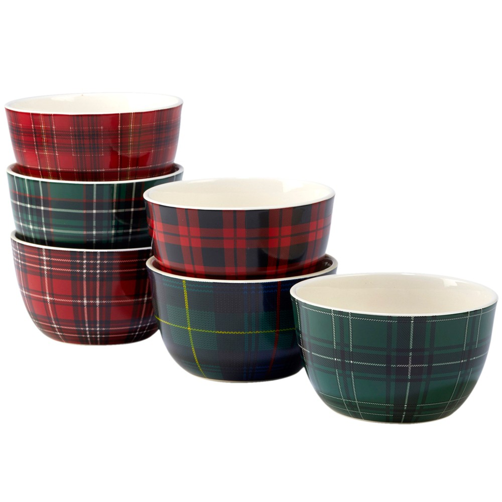 24oz 6pk Christmas Plaid Ceramic Cereal Bowls - Certified International