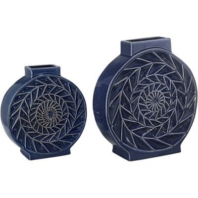 Dahlia Studios Dark Blue Circle Ceramic Vases Set of 2