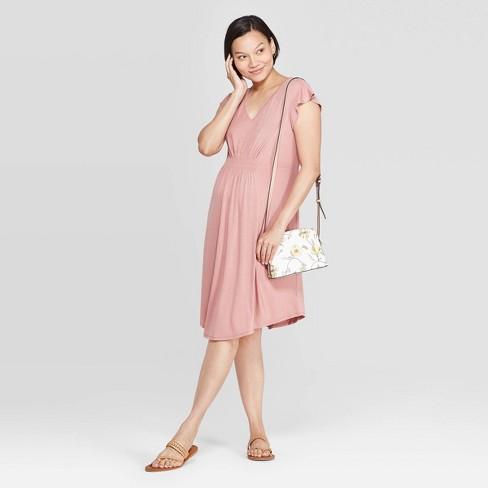 Maternity Short Sleeve V-Neck Smocked Front Dress - Isabel Maternity by Ingrid & Isabel™ Snowbloom Rose - image 1 of 2