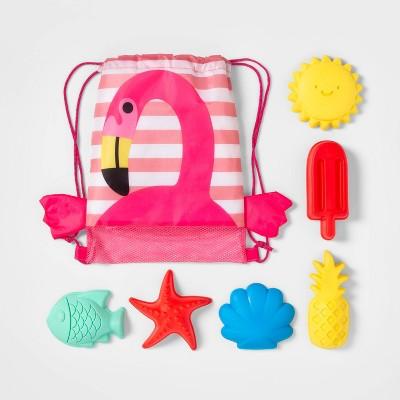 Flamingo Drawstring Bag Sand Mold Set 7pc - Sun Squad™