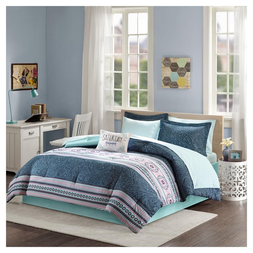 Top Blue Nissa Comforter and Sheet Set (Full)