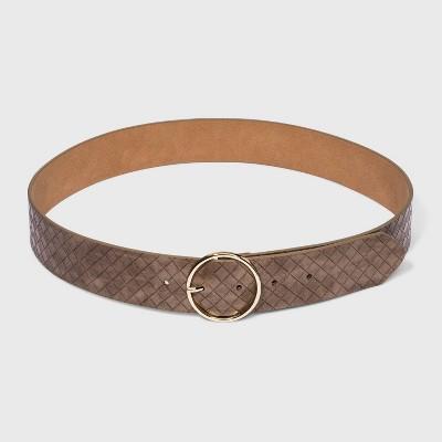 Women's Wide Woven Belt - A New Day™ Brown