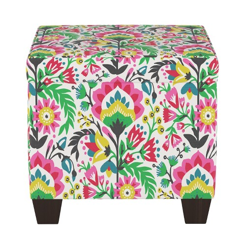 Strange Pattern Fairland Square Storage Ottoman Bright Floral Threshold Gmtry Best Dining Table And Chair Ideas Images Gmtryco
