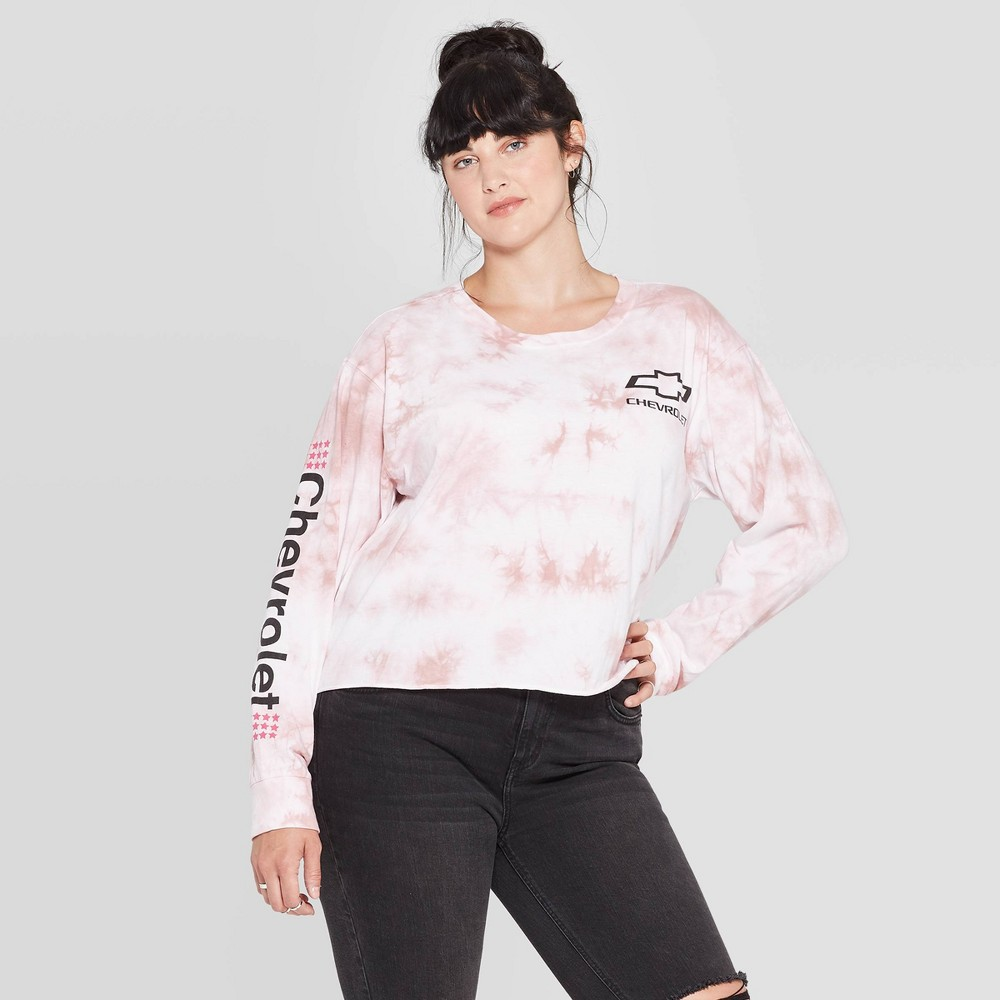 Image of Women's Chevrolet Plus Size Long Sleeve Graphic Cropped T-Shirt (Juniors') - Blush Pink Wash 1X, Women's, Size: 1XL