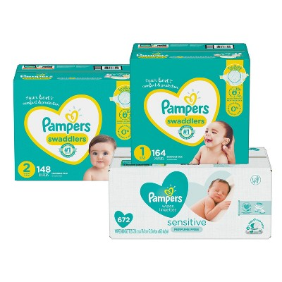 Pampers Swaddlers Disposable Diapers Size 1 - 168ct + Size 2 - 148ct & Pampers Sensitive Baby Wipes - 672ct - Bundle