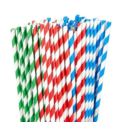 150 Pack Paper Straws - Biodegradable Straws Red, Blue, and Green Striped Design Bulk Drinking Straws for Christmas Holiday Parties