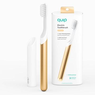 quip Metal Electric Toothbrush Starter Kit - 2-Minute Timer + Travel Case - Gold