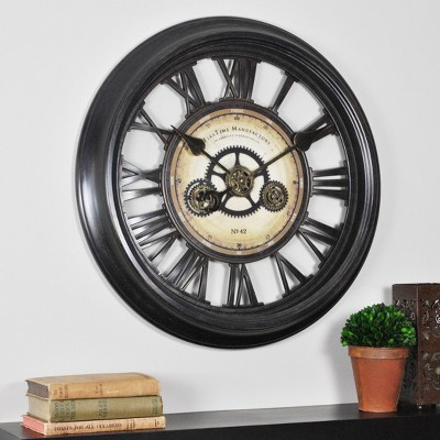 "24"" Gear Works Wall Clock Metallic Black - FirsTime & Co."