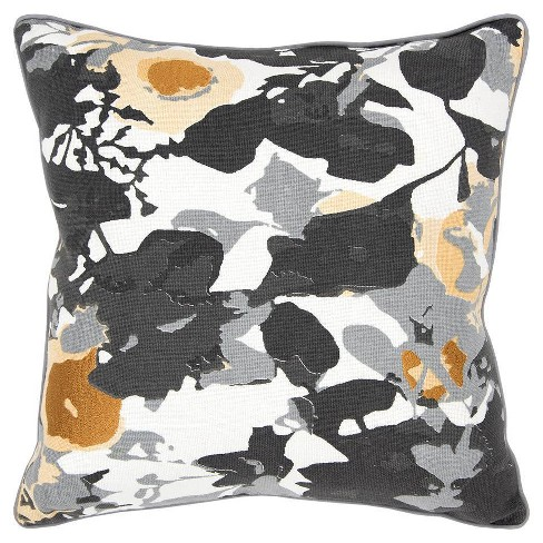 Connie Post Solid Poly Filled Square Pillow Black - Rizzy Home - image 1 of 4