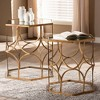 2pc Sada Finished Metal and Glass Stackable Accent Table Set Gold - Baxton Studio - image 4 of 4