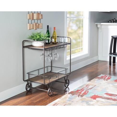 Barley Mixed Materials Kitchen Bar Cart Natural - Powell Company