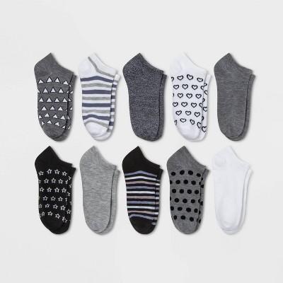 Women's Mixed Geo 10pk Low Cut Socks - Xhilaration™ Black/White/Heather Gray 4-10
