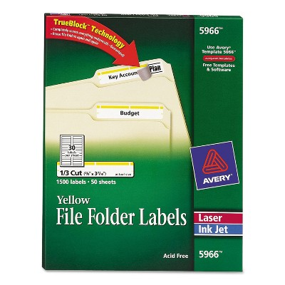 Avery Permanent File Folder Labels TrueBlock Inkjet/Laser Yellow Border 1500/Box 5966