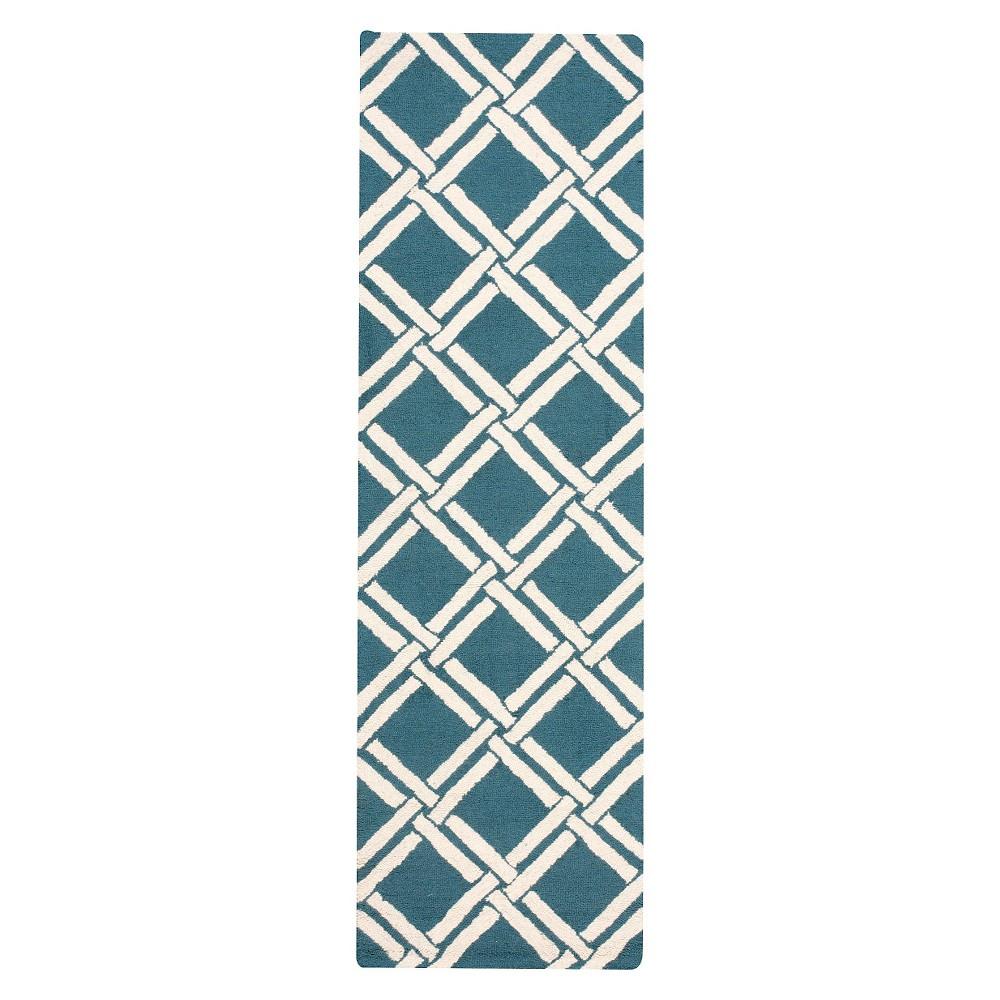 Nourison Diamond Lattic Linear Accent Rug - Teal/Ivory (Blue/Ivory) (2'3