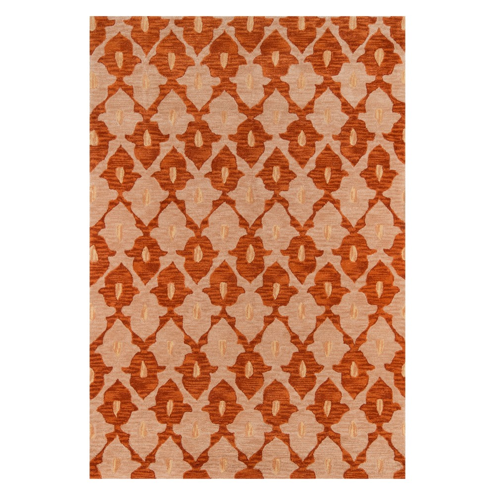 2'X3' Geometric Tufted Accent Rug Orange - Momeni