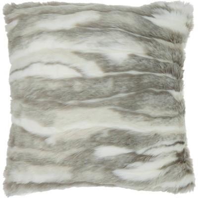 Faux Fur Angora Rabbit Oversize Square Throw Pillow Gray - Mina Victory
