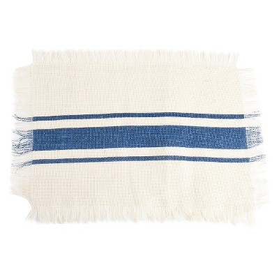 Striped Design Jute Placemats Navy Blue (Set of 4)