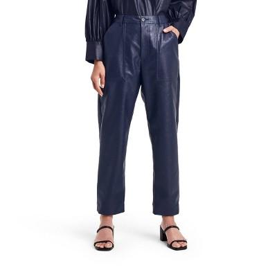 Women's High-Rise Taper Leg Faux Leather Utility Pants - Rachel Comey x Target Navy