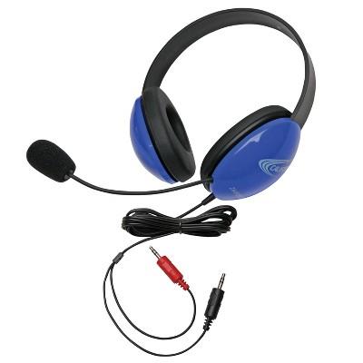 Califone Listening First 2800BL-AV Over-Ear Stereo Headset with Gooseneck Microphone, Dual 3.5mm Plug, Blue, Each
