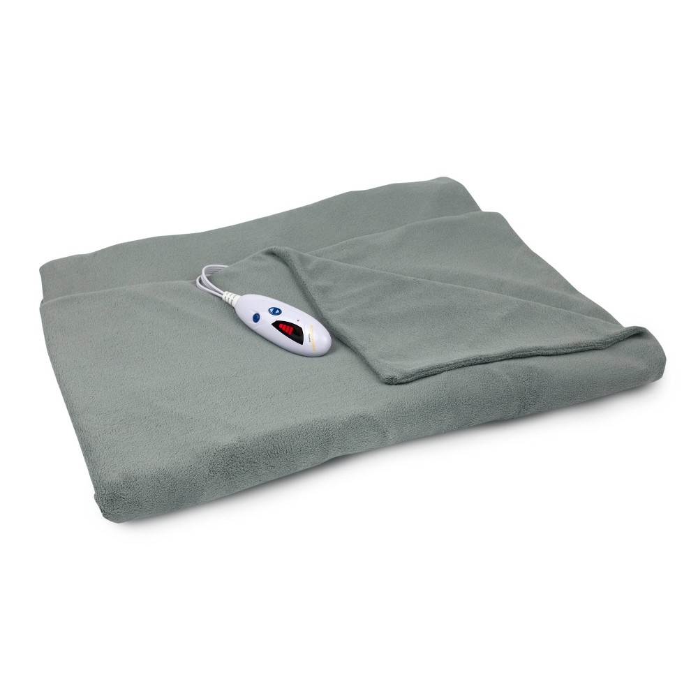 "Image of ""72"""" x 50"""" Extra Long Microplush Electric Throw Blanket Gray - Biddeford Blankets"""