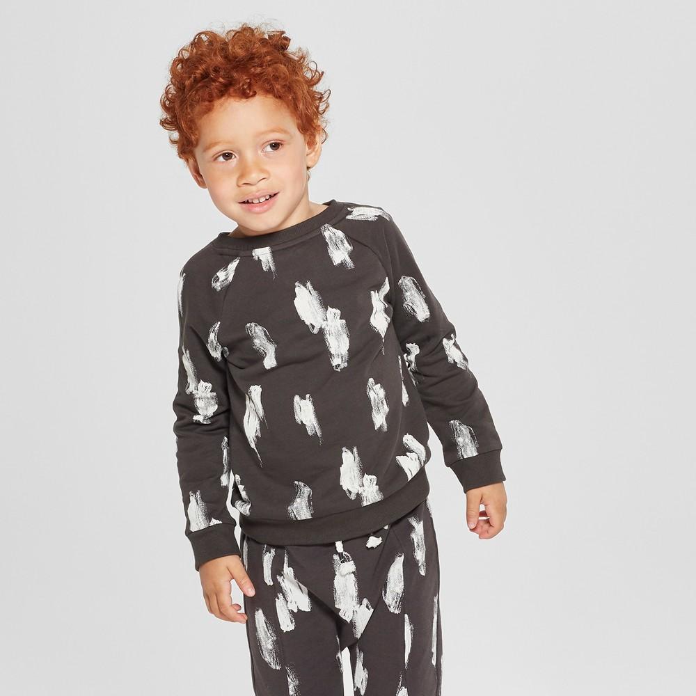 Toddler Boys' French Terry Print Sweatshirt - Cat & Jack Black 5T, Gray