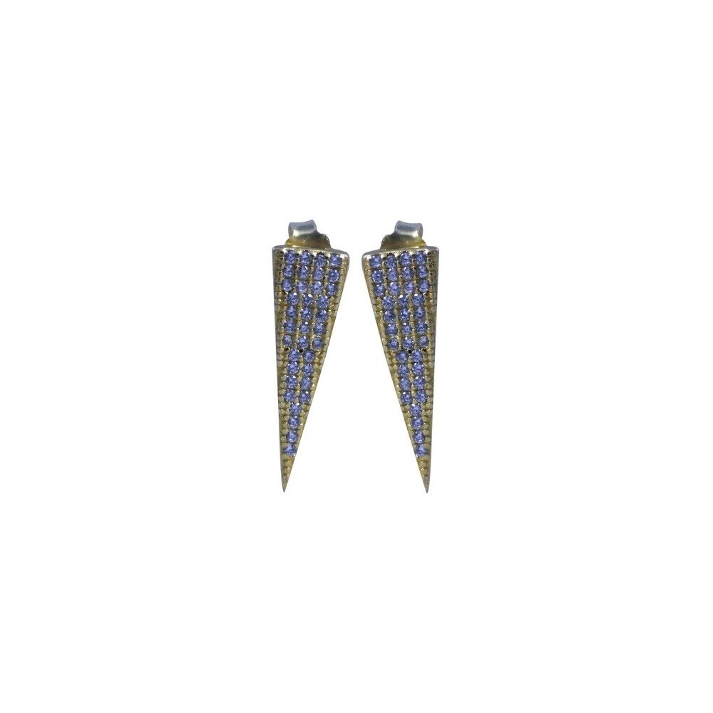 Women's Zirconite Sterling Stud Earrings with Pave Cubic Zirconia Spears - Gold, Silver