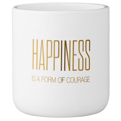 Ceramic Flower Pot with  Happiness Is A Form Of Courage  - White/Gold (4 )- 3R Studios