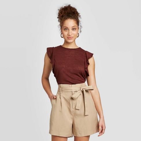 Women's Ruffle Short Sleeve T-Shirt - A New Day™  - image 1 of 3