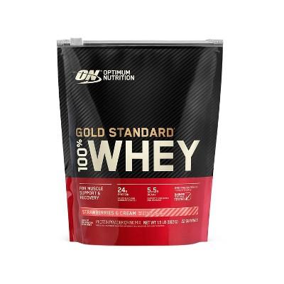 ON 100% Gold Standard Whey Protein Powder - Strawberries & Cream - 24oz