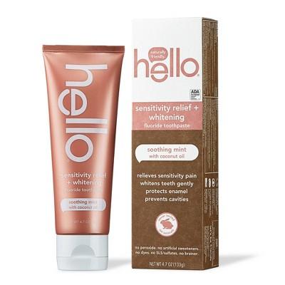 hello Sensitivity Relief + Whitening Fluoride Toothpaste - Soothing Mint Vegan & SLS Free - 4.7oz