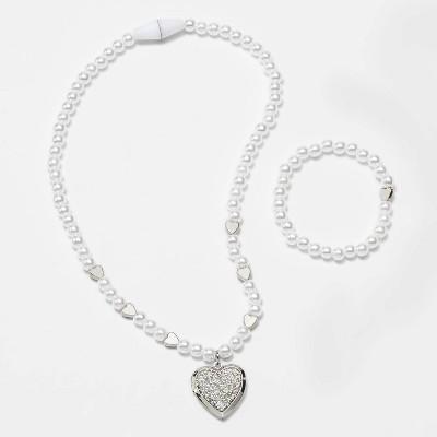 Girls' Pearl Heart Necklace and Bracelet Set - Cat & Jack™
