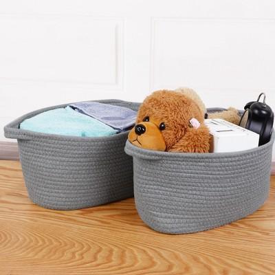 2 Pcs Cotton Foldable Woven with Handles Storage Bin Box - PiccoCasa