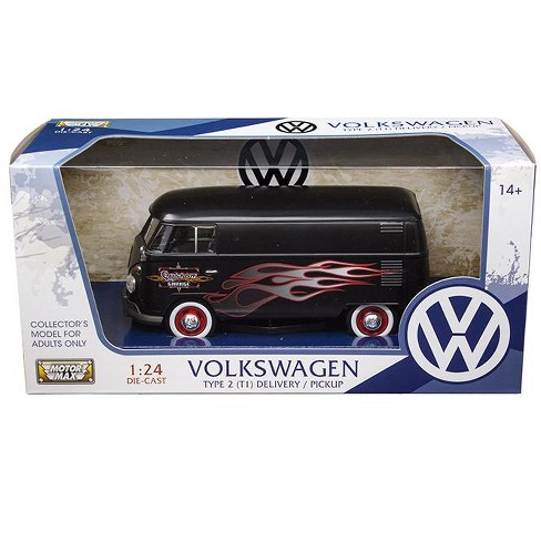 Volkswagen Type 2 T1 Delivery Van Matte Black With Flame Design 1 24 Cast Model Car By Motormax Target