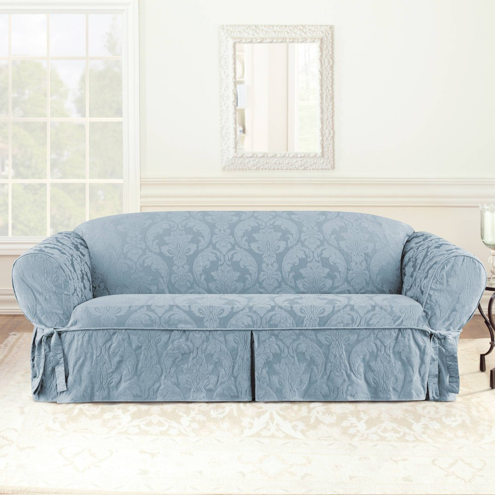 Matelasse Damask Sofa Slipcover Blue Sure Fit