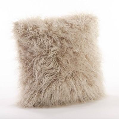 "18"" Poly Filled Faux Mongolian Fur Pillow Oatmeal - Saro Lifestyle"