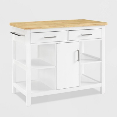 Audrey Wood Top Kitchen Island White - Crosley