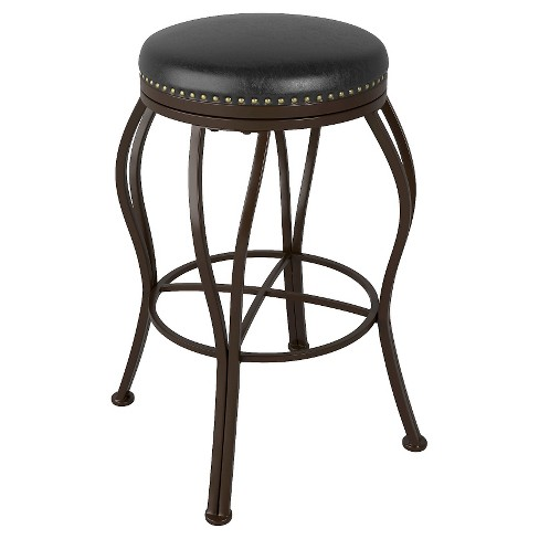 "Bonded Leather 30"" Barstool Metal/Brown - CorLiving - image 1 of 3"