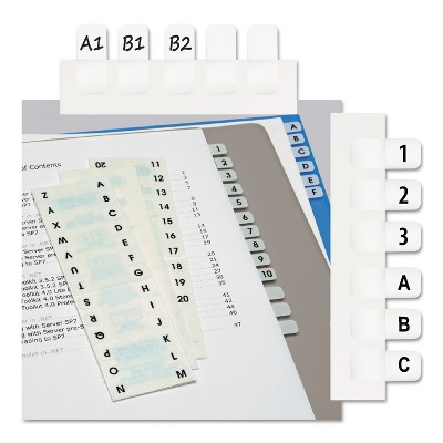 Redi-Tag Side-Mount Self-Stick Plastic A-Z Index Tabs 1 inch White 104/Pack 31005
