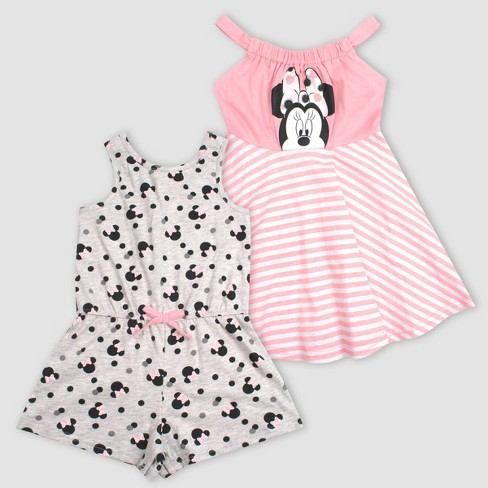 Toddler Girls' Minnie Mouse 2pk Summer Dress and Romper - Gray - image 1 of 1