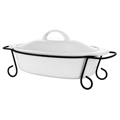Gibson Elite 3pc Stoneware Gracious Oval Bakeware with Lid and Metal Rack