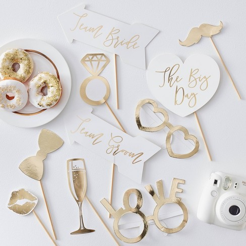 Photo Booth Wedding Props White/Gold - image 1 of 1