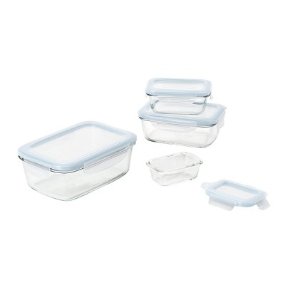 OXO 8pc Glass Food Storage Container Set Blue