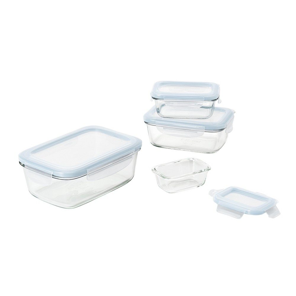 Image of OXO 8pc Glass Food Storage Container Set Blue