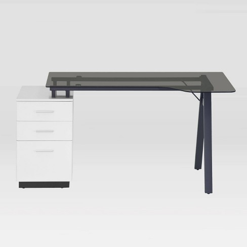 Modern Home Office Computer Desk With, White Glass Computer Desk