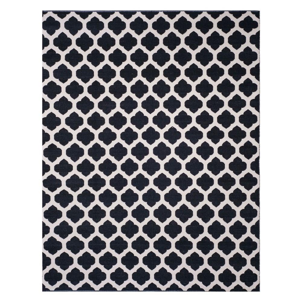 8'X10' Quatrefoil Design Woven Area Rug Black/Ivory - Safavieh