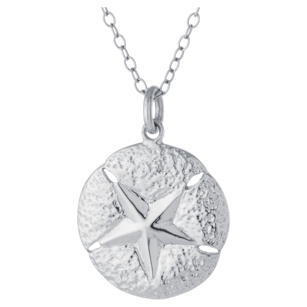 Sterling Silver Sand DollarPendant - Silver (18), Girl's, Size: L: 16mm x W: 15.4mm - Chain: 18, Tin