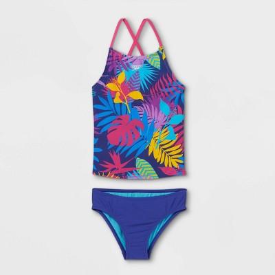 Speedo Girls' Floral Print Tankini Set - Blue