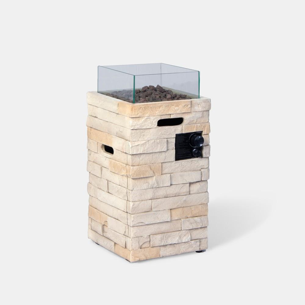 Chisholm 27 Tall Square Stone (Grey) Fire Column - Natural - Threshold