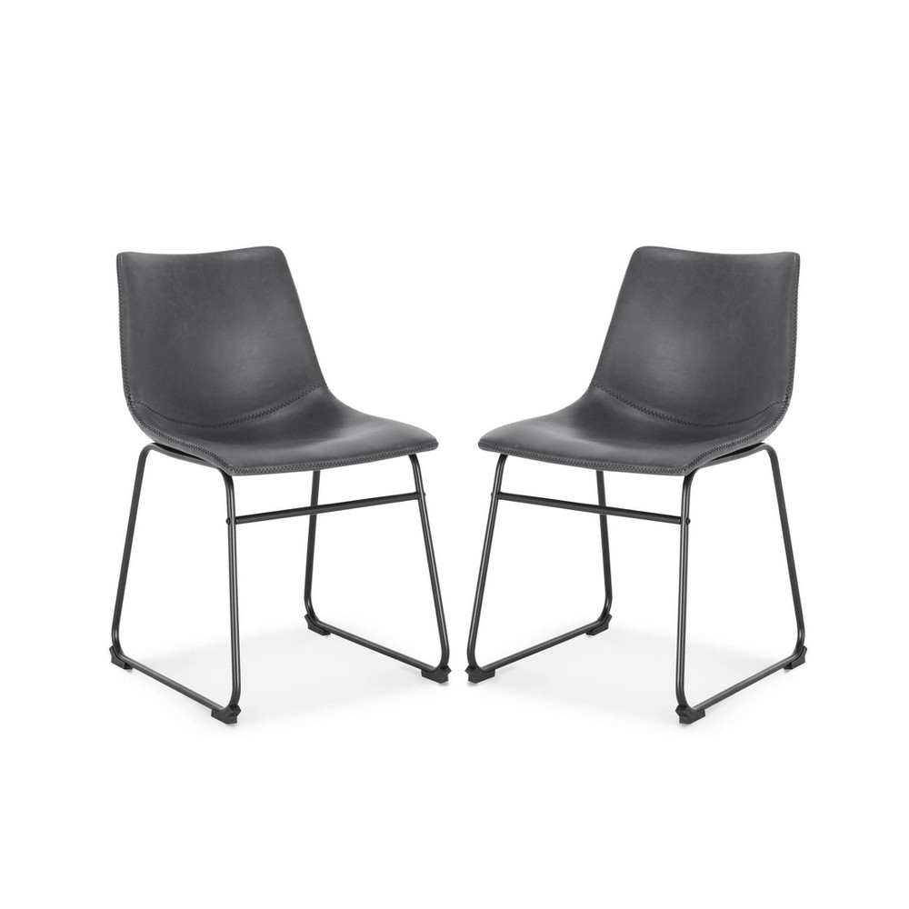 Set Of 2 Lakewood Dining Chair Gray Poly 38 Bark
