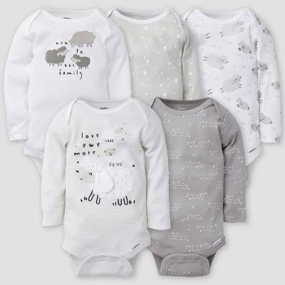 Gerber Baby 5pk Lamb Long Sleeve Onesies - White/Gray 0-3M